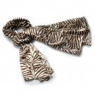 BRA-SCA01027-S Brando Brown Funky Zebra Animal Pattern super soft Silk Scarf(Small)