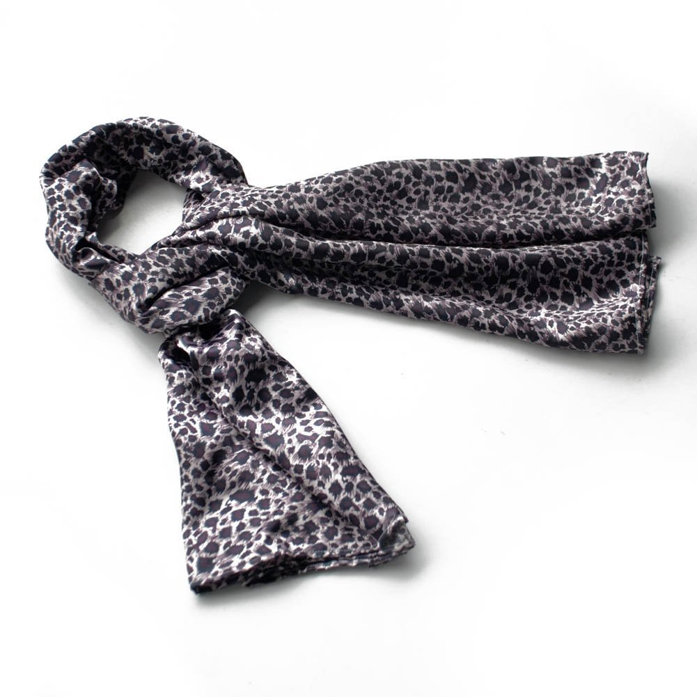 BRA-SCA01033-S Brando Burgundy Elegant Stylish Leopard Design Natural Silk Scarf(Small)