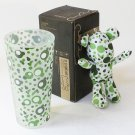 SYNC-BL03 [Bubble Green] Stuffed Bear Glass Cup (6.3 inch height)