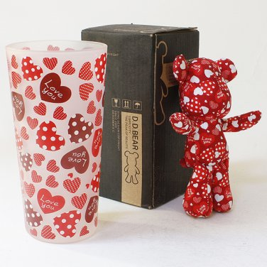SYNC-BL04 [Heart Red] Stuffed Bear Glass Cup (6.3 inch height)