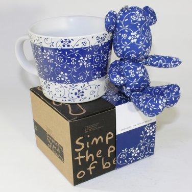 SYNC-GK06 [Flower Blue] Stuffed Bear Mug (3.3 inch height)