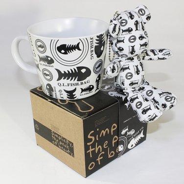 SYNC-GK13 [Fish Bones] Stuffed Bear Mug (3.3 inch height)