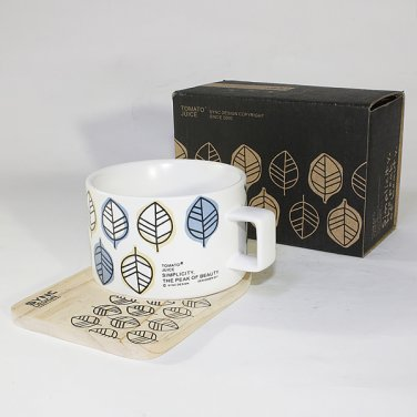 SYNC-TC026 [Simple Leaf] Espresso Cup / Wood Coaster (2.5 inch height)