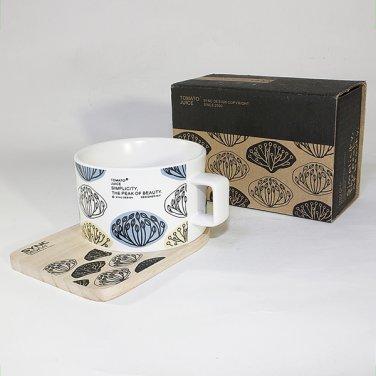 SYNC-TC027 [Glossy Ganoderm ] Espresso Cup / Wood Coaster (2.5 inch height)