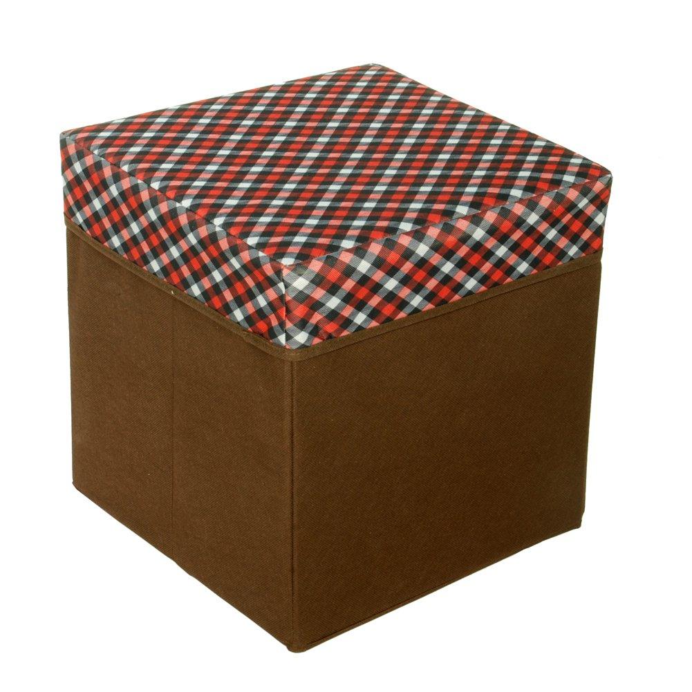 SB-N131-SQU[Red/White/Black Check] Square Foldable Storage Ottoman / Storage Boxes