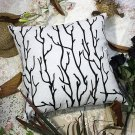 BETTINO-FJ-009 [Black Branch] Decorative Pillow Cushion / Floor Cushion (23.6 by 23.6 inches)