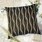 BETTINO-FJ-020 [Brown Wave] Decorative Pillow Cushion / Floor Cushion (23.6 by 23.6 inches)
