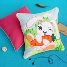 ONITIVA-DP006 [Bunny & Carrot] Embroidered Applique Pillow Cushion  (19.7 by 19.7 inches)