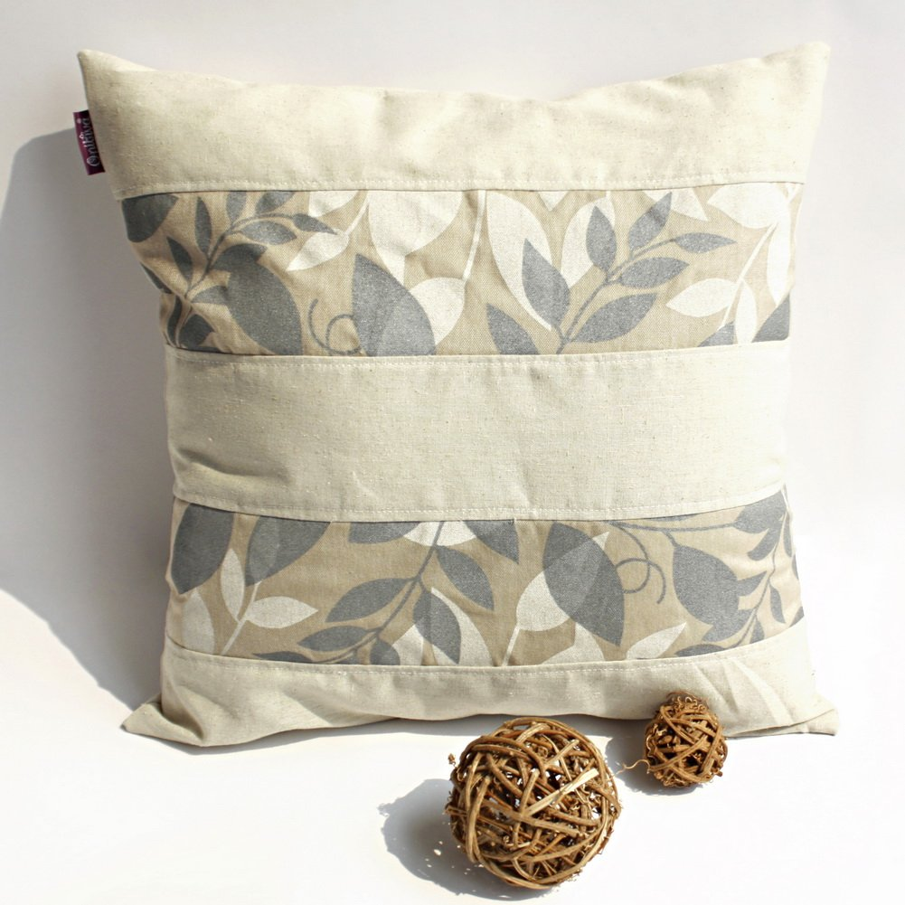 ONITIVA-DP009 [Dream Land] Linen Patchwork Pillow Cushion Floor Cushion (19.7 by 19.7 inches)