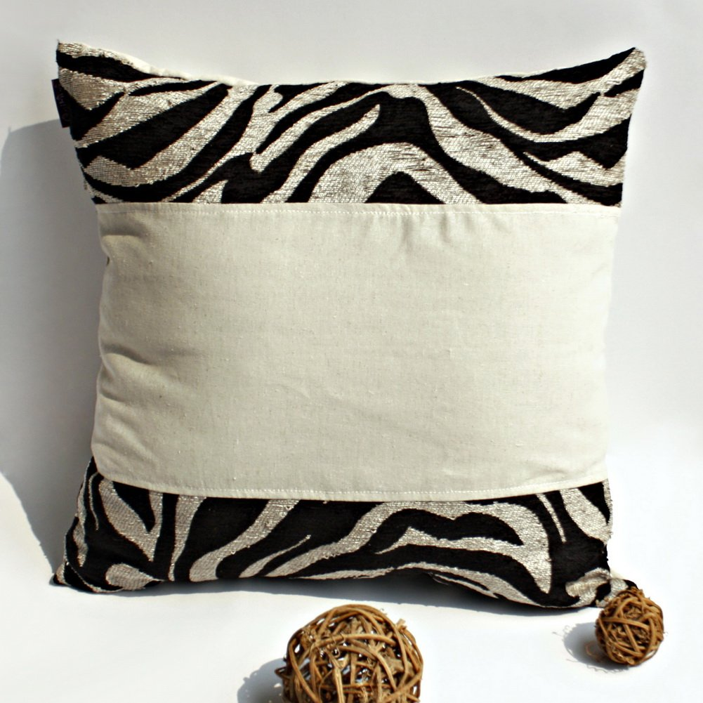 ONITIVA-DP012 [Moon River] Linen Patchwork Pillow Cushion Floor Cushion (19.7 by 19.7 inches)