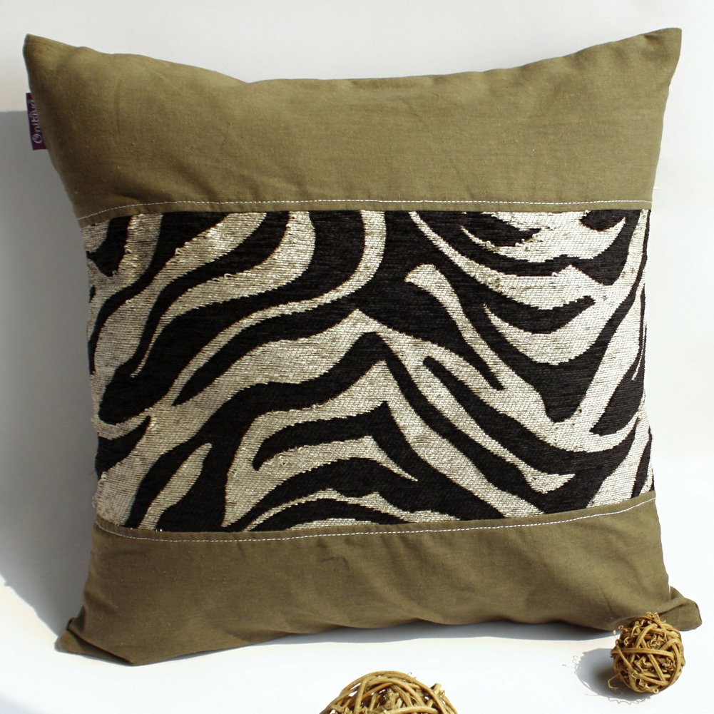 ONITIVA-DP013 [Forest Treasure] Linen Patchwork Pillow Cushion Floor Cushion (19.7 by 19.7 inches)