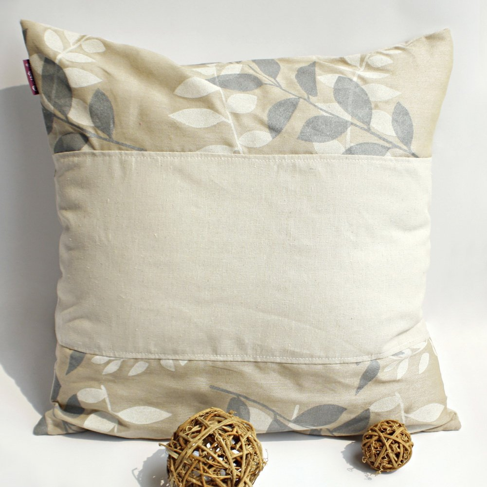 ONITIVA-DP014 [Fairy Tale] Linen Patchwork Pillow Cushion Floor Cushion (19.7 by 19.7 inches)