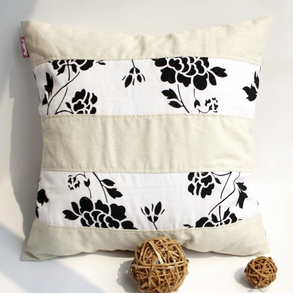 ONITIVA-DP015 [Flowing Flowers] Linen Patchwork Pillow Cushion Floor Cushion (19.7 by 19.7 inches)
