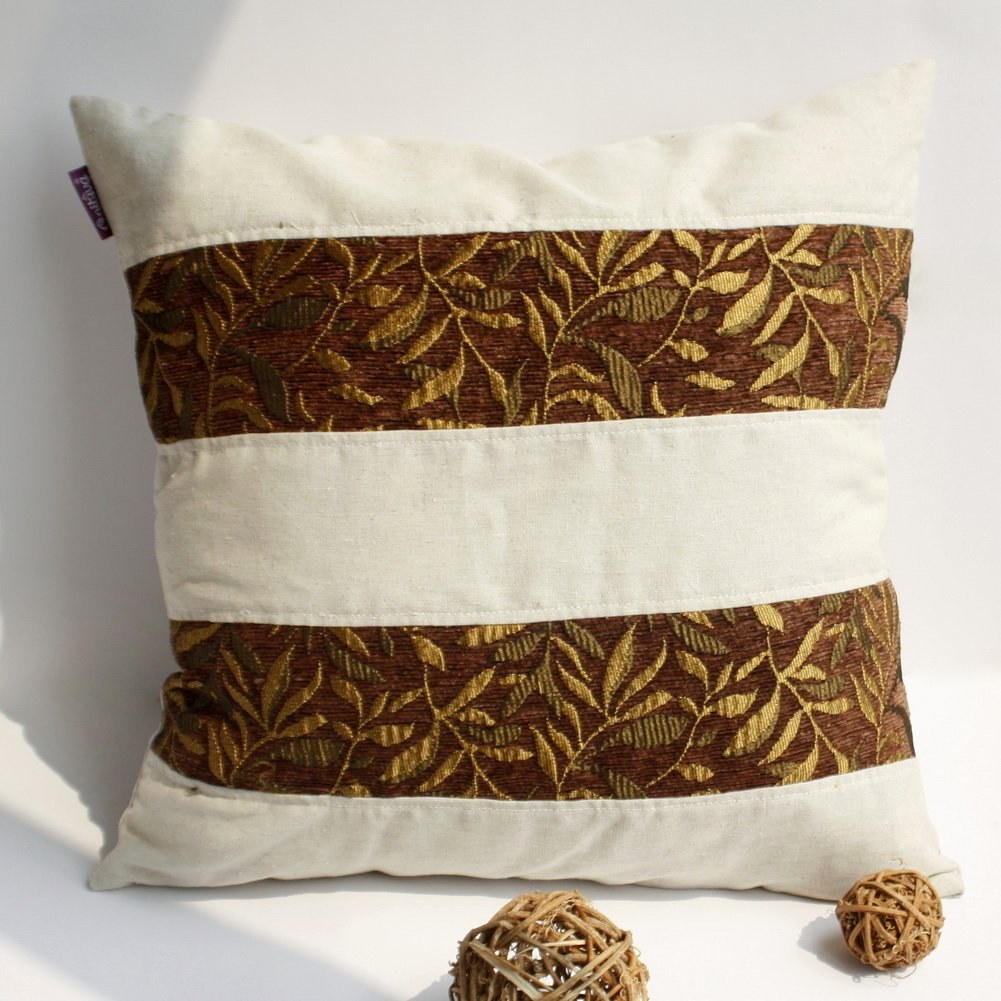 ONITIVA-DP016 [Gold Autumn] Linen Patchwork Pillow Cushion Floor Cushion (19.7 by 19.7 inches)