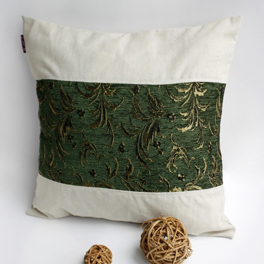 ONITIVA-DP018 [Exquisite Emerald] Linen Patchwork Pillow Cushion (19.7 by 19.7 inches)