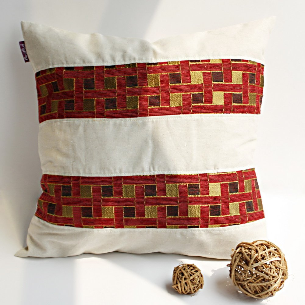 ONITIVA-DP019 [Passion Red Valley] Linen Patchwork Pillow Cushion (19.7 by 19.7 inches)