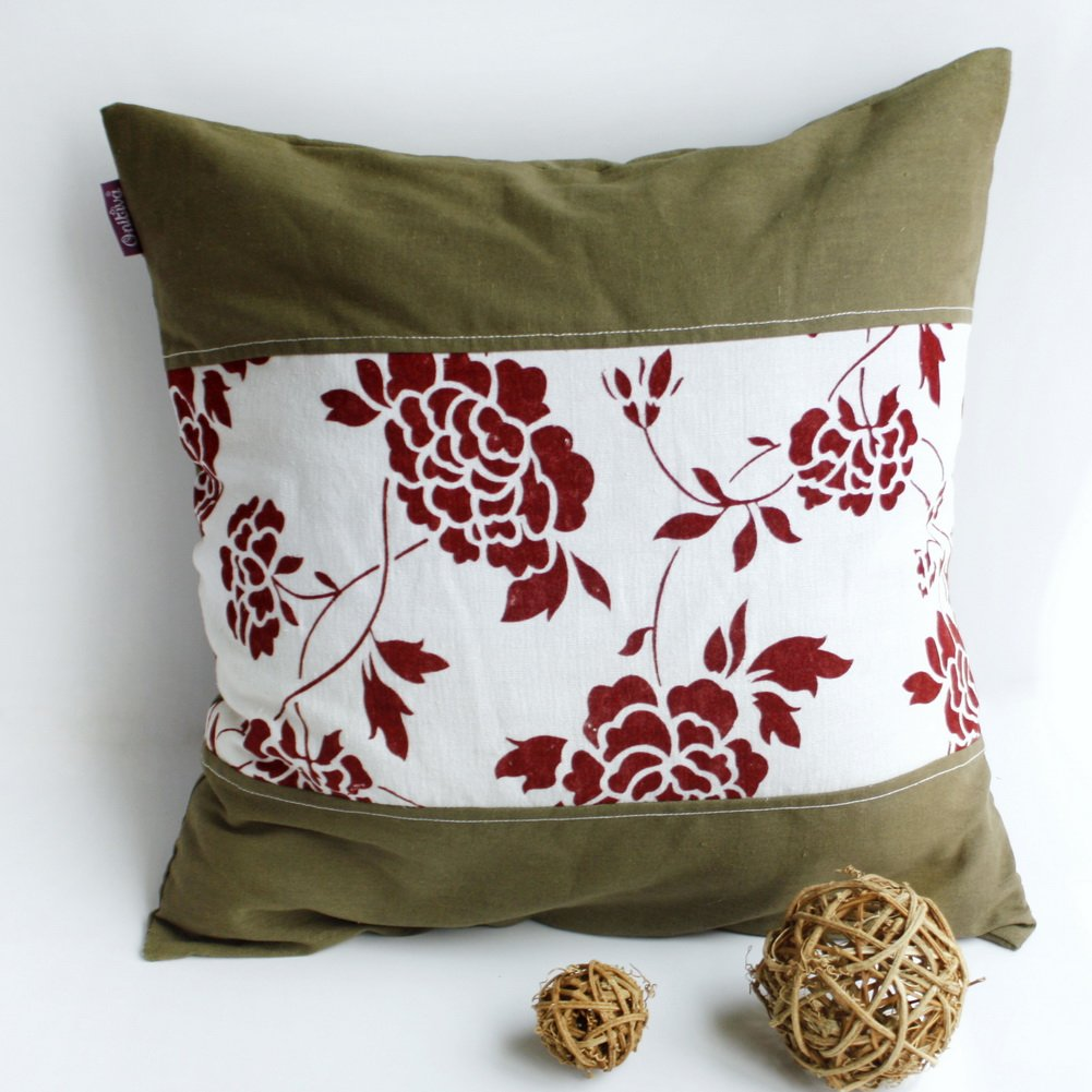 ONITIVA-DP027 [Floarl Dream] Linen Patchwork Pillow Cushion Floor Cushion (19.7 by 19.7 inches)