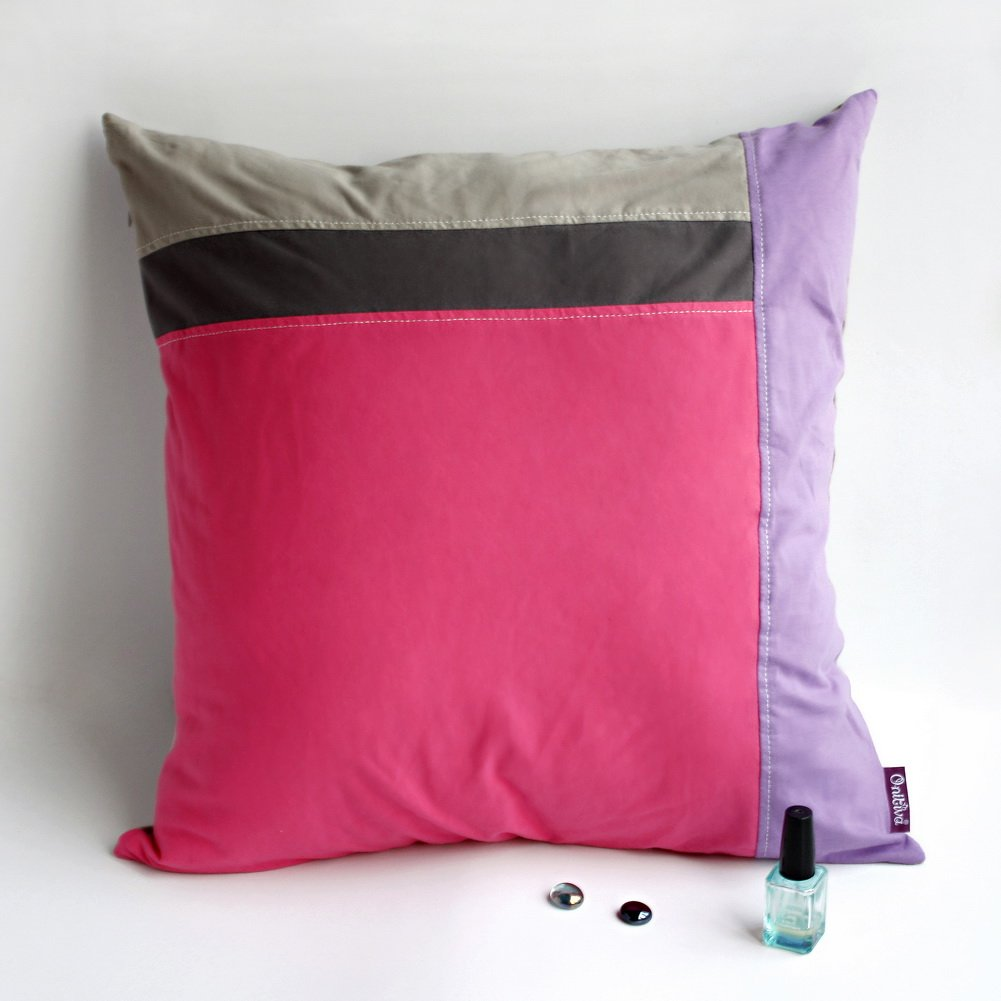 ONITIVA-DP043 [Pink Lady] Knitted Fabric Patchwork Pillow Cushion (19.7 by 19.7 inches)