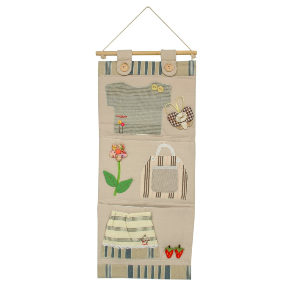WH-LJF033-1 [Stripes Clothes] Ivory/Wall Hanging/Hanging Baskets/Wall Organizers (11*24)
