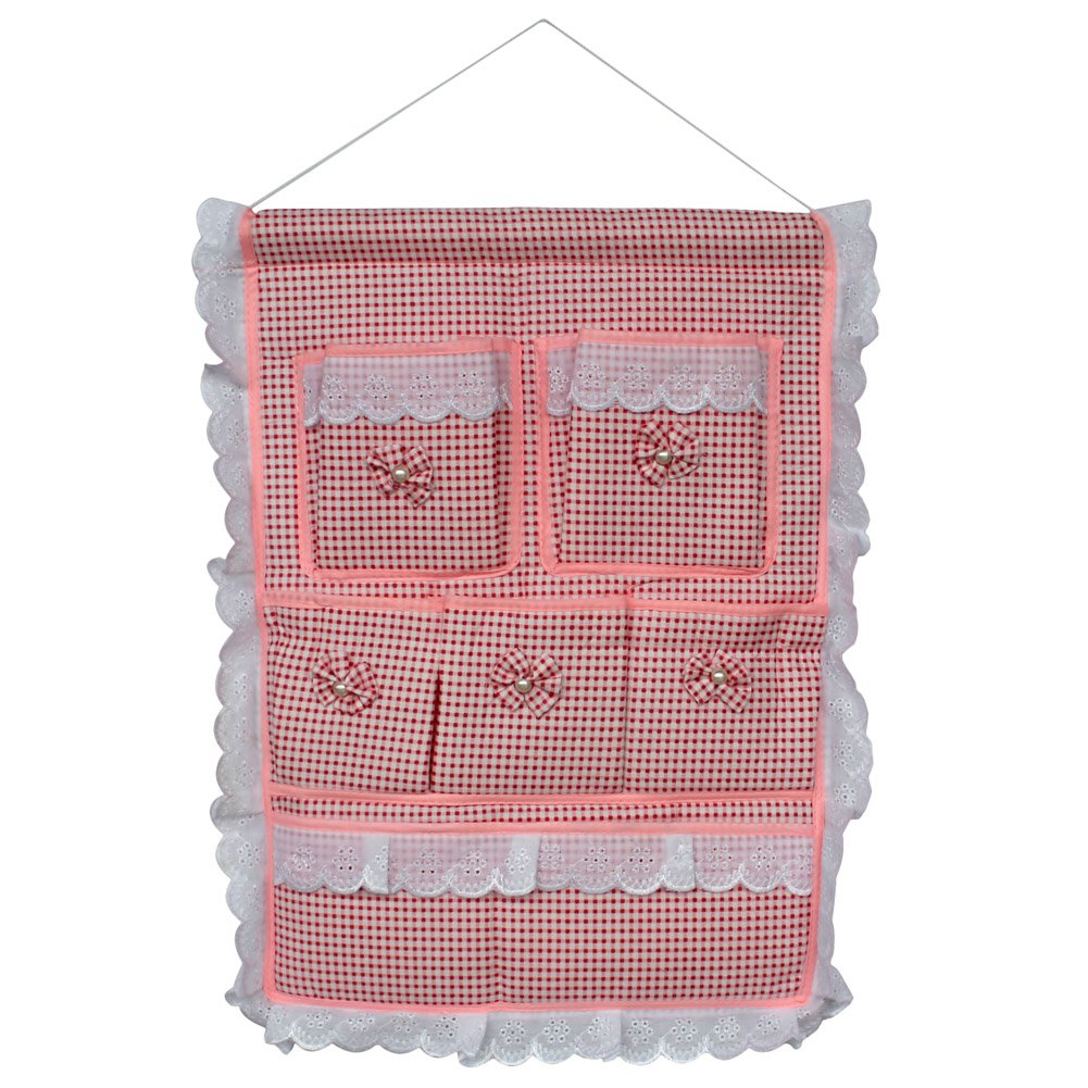 YF-WH090 [Plaid & Allover] Pink/Wall Hanging / Hanging Baskets/Wall Organizers (15*19)