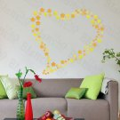 HEMU-HL-2125 Yellow Floral Heart - Large Wall Decals Stickers Appliques Home Decor