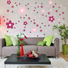 HEMU-HL-2127 Pink Floral Design - Large Wall Decals Stickers Appliques Home Decor
