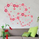 HEMU-HL-2133 Pink Blossoming Flowers - Large Wall Decals Stickers Appliques Home Decor