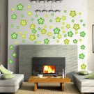 HEMU-HL-2135 Green Blossoming Flowers - Large Wall Decals Stickers Appliques Home Decor
