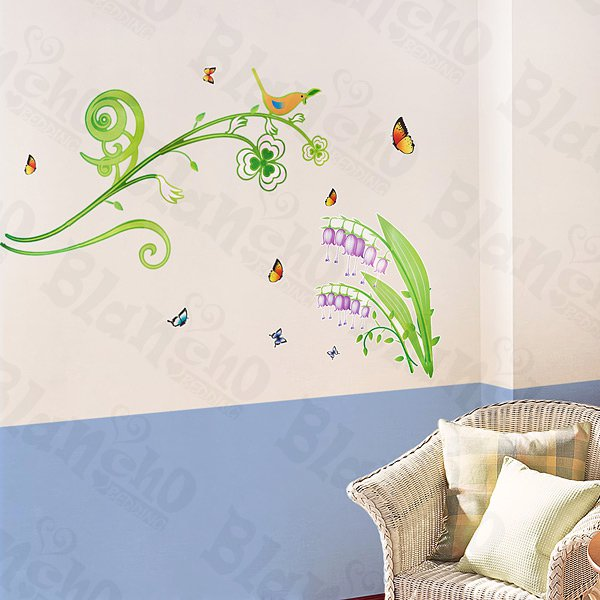 HEMU-HL-5603 Green Branches - Large Wall Decals Stickers Appliques Home Decor