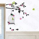 HEMU-HL-5811 Green Birds - Large Wall Decals Stickers Appliques Home Decor