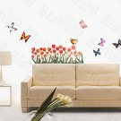 HEMU-HL-906 Tulip & Butterfly - Wall Decals Stickers Appliques Home Decor