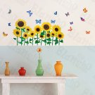 HEMU-HL-966 Sunflowers & Butterflies 2 - Wall Decals Stickers Appliques Home Decor