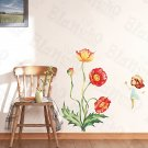 HEMU-XS-022 Girl & Flowers - Large Wall Decals Stickers Appliques Home Decor