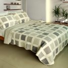 QTS-WB8004-23 [Simple Grid Style] Cotton 3PC Patchwork Quilt Set (Full/Queen Size)