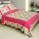 QTS-WB8026-23 [Simple Happiness] Cotton 3PC Patchwork Quilt Set (Full/Queen Size)