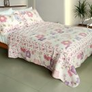 QTS-WB8027-23 [Affectation Style] Cotton 3PC Patchwork Quilt Set (Full/Queen Size)