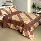 QTS-WB8038-23 [Artistic Chic] Cotton 3PC Patchwork Quilt Set (Full/Queen Size)