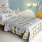 QTS-WB8081-23 [Fantasy Drift] Cotton 3PC Patchwork Quilt Set (Full/Queen Size)