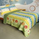 QTS-WB8118-23 [Valder Fields] Cotton 3PC Patchwork Quilt Set (Full/Queen Size)