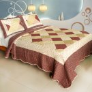 QTS-WB8151-23 [Sculpting In Time] Cotton 3PC Patchwork Quilt Set (Full/Queen Size)