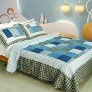 QTS-WB8152-23 [Coastal Life] Cotton 3PC Patchwork Quilt Set (Full/Queen Size)