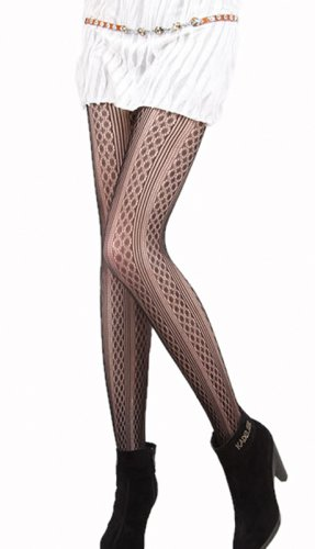 LING-LZSA004-1 Sexy Black Sheer Floral Lace Stocking Pantyhose Hosiery
