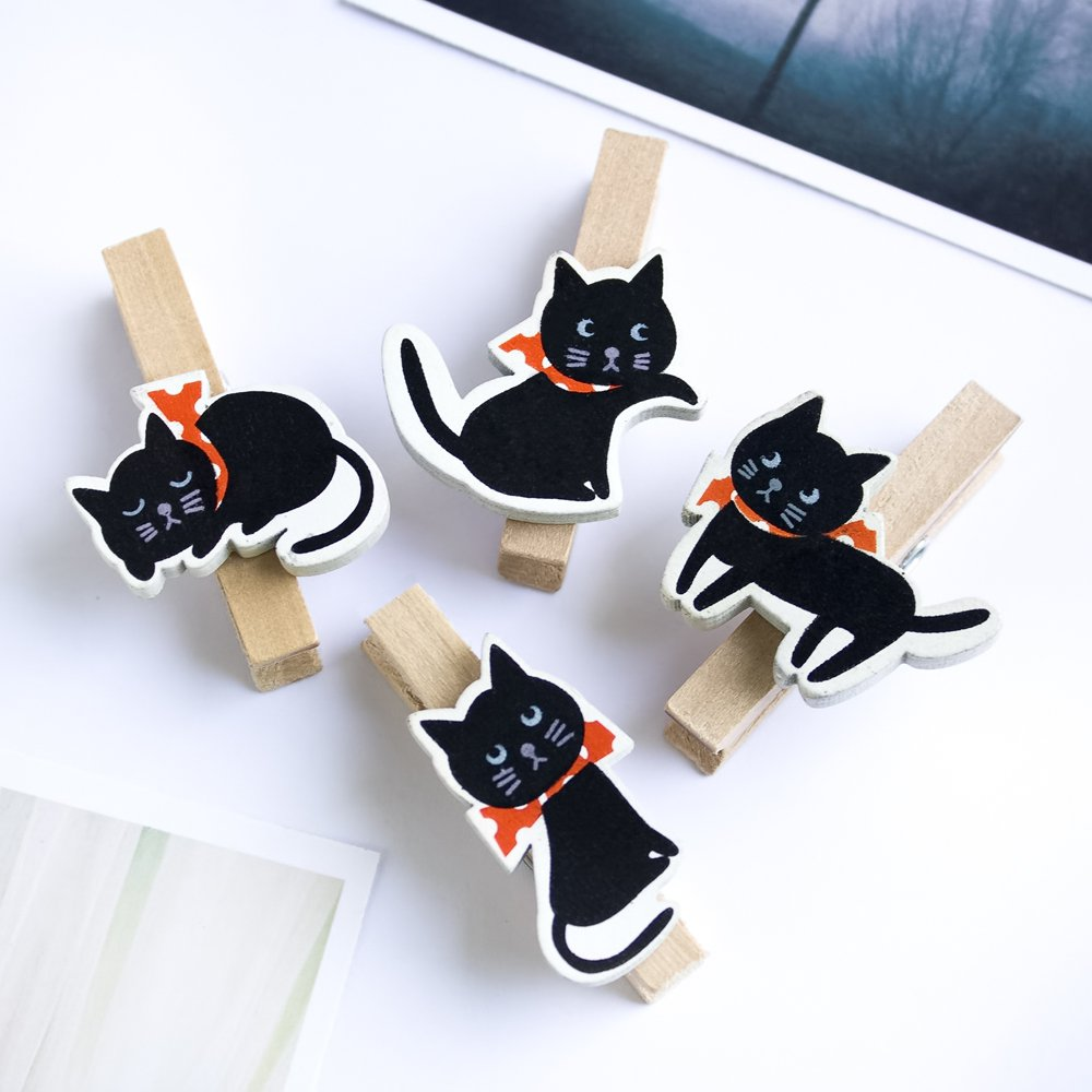 HC-WC001[Cute Cat] - Wooden Clips / Wooden Clamps / Mini Clips
