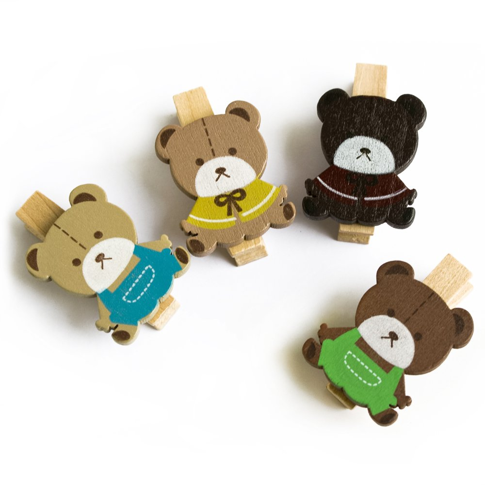 HC-WC017[Lovely Bear] - Wooden Clips / Wooden Clamps / Mini Clips