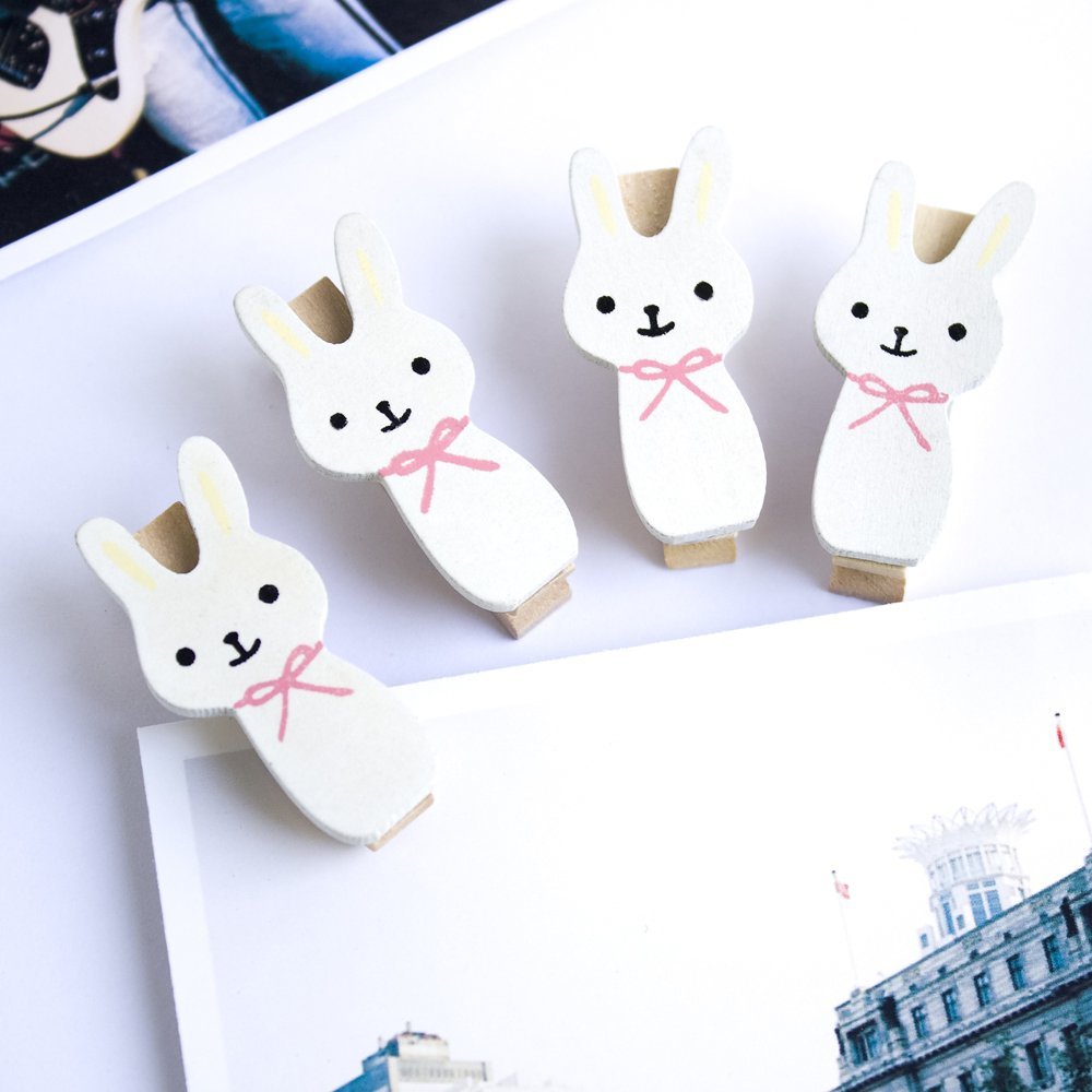 HC-WC018[Smile Rabbit] - Wooden Clips / Wooden Clamps / Mini Clips