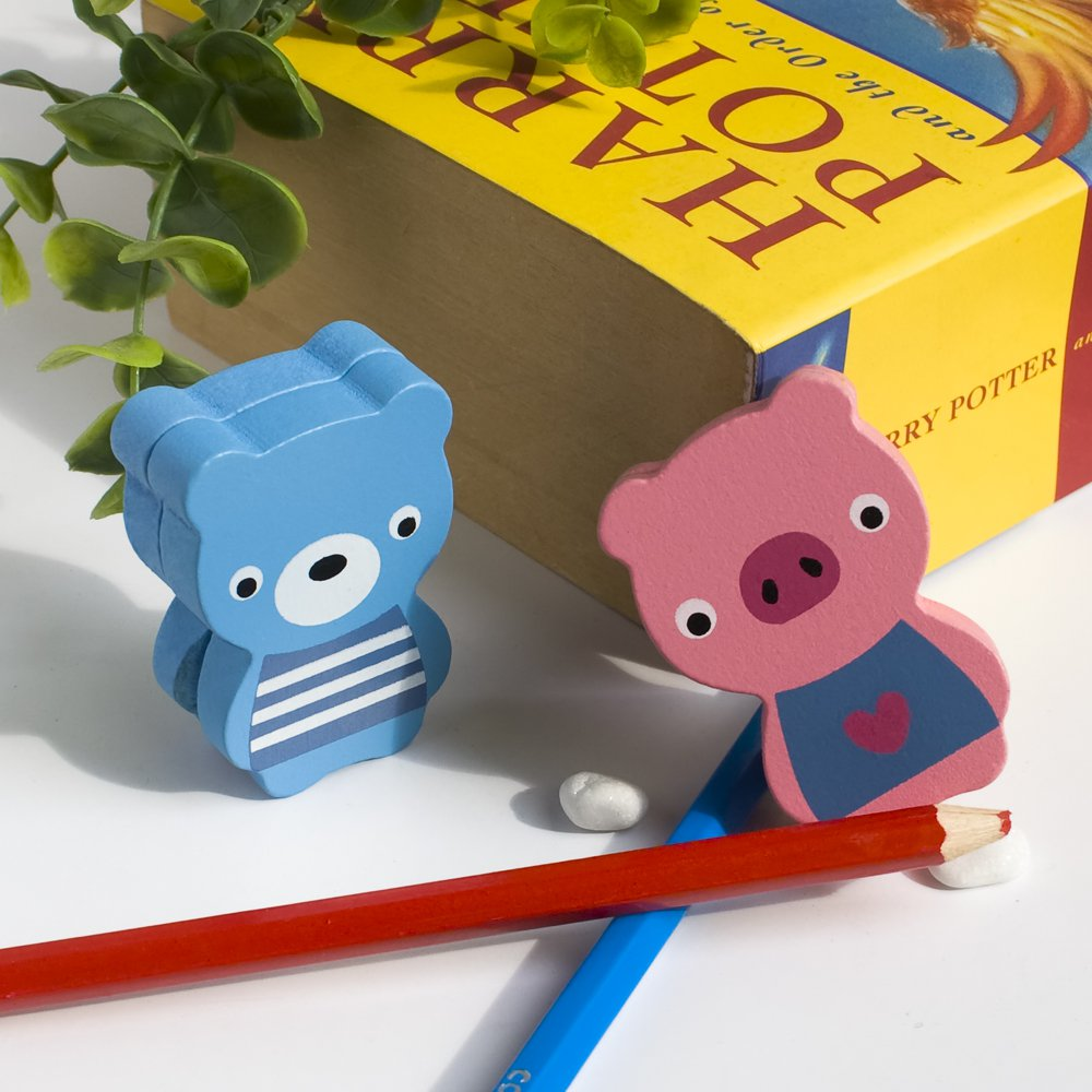 HC-CH001-BEPI[Bear & Pig] - Card Holder / Wooden Clips / Wooden Clamps / Animal Clips