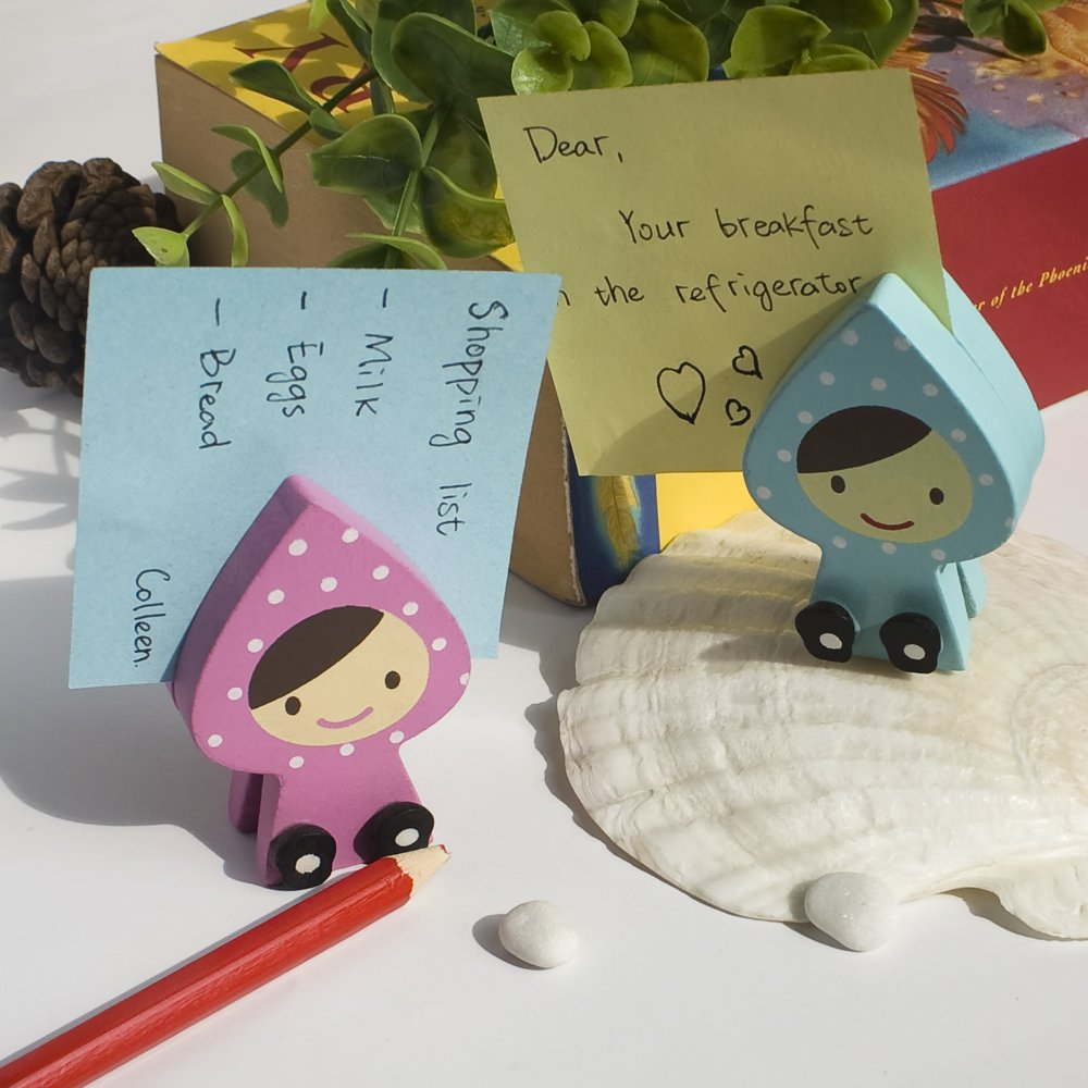 HC-CH002-PIBL[Happy Doll] - Card Holder / Wooden Clips / Wooden Clamps / Animal Clips