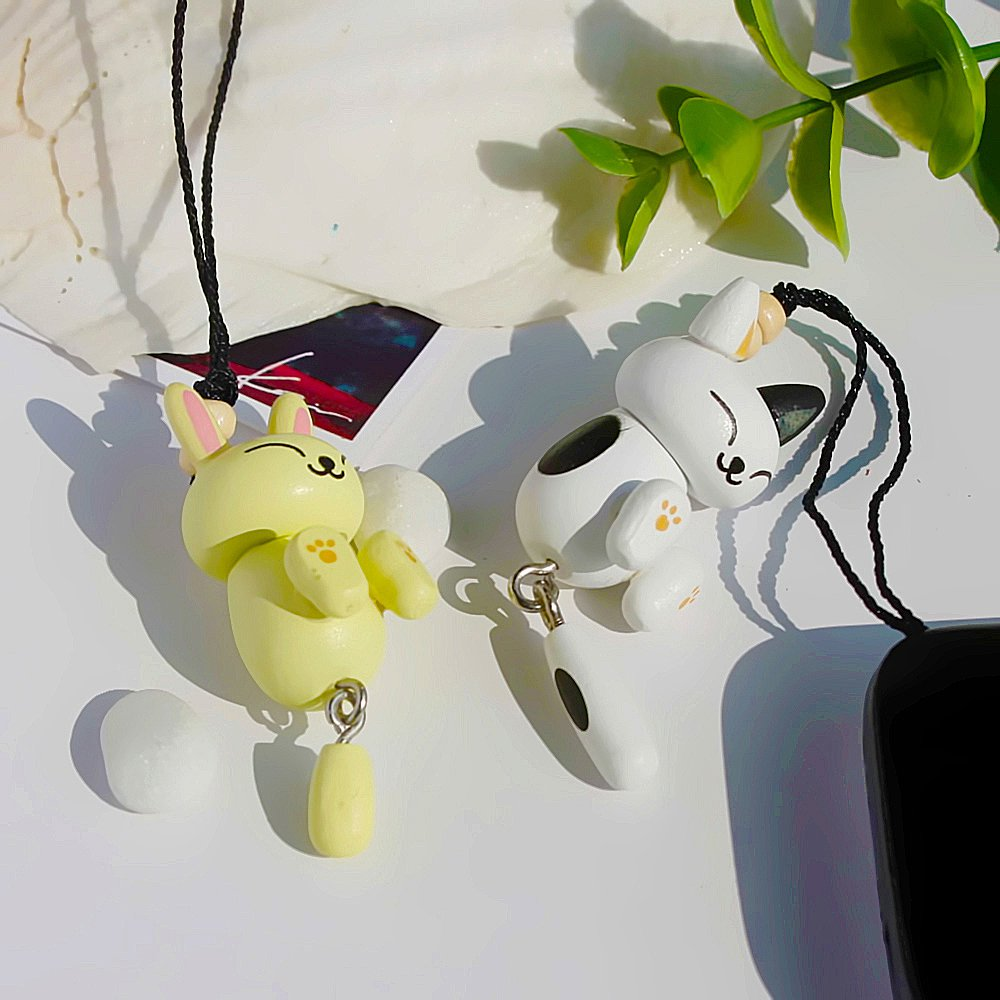 HC-C003-WHOF[White Cat & Beige Rabbit] - Cell Phone Charm Strap / Camera Charm Strap