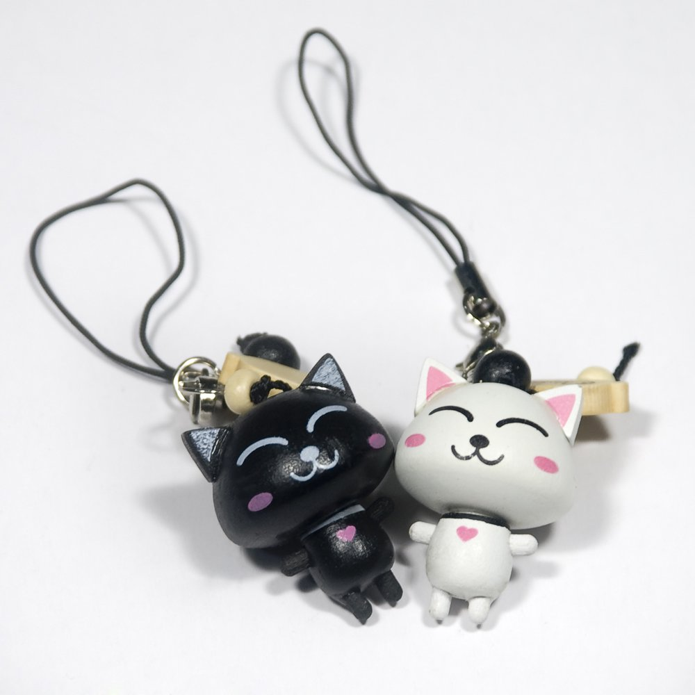 HC-C005-WHBL[Happy Cat-1] - Cell Phone Charm Strap / Camera Charm Strap / Handbags Charms