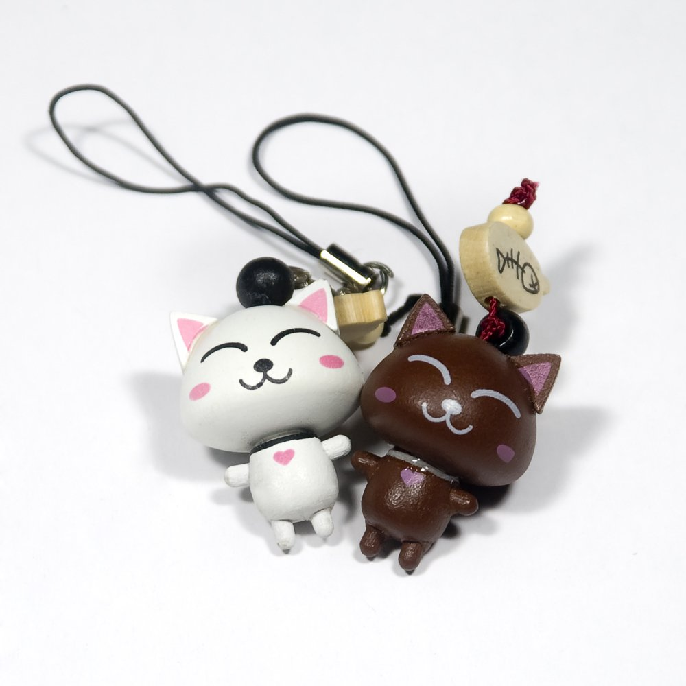 HC-C005-WHBR[Happy Cat-2] - Cell Phone Charm Strap / Camera Charm Strap / Handbags Charms